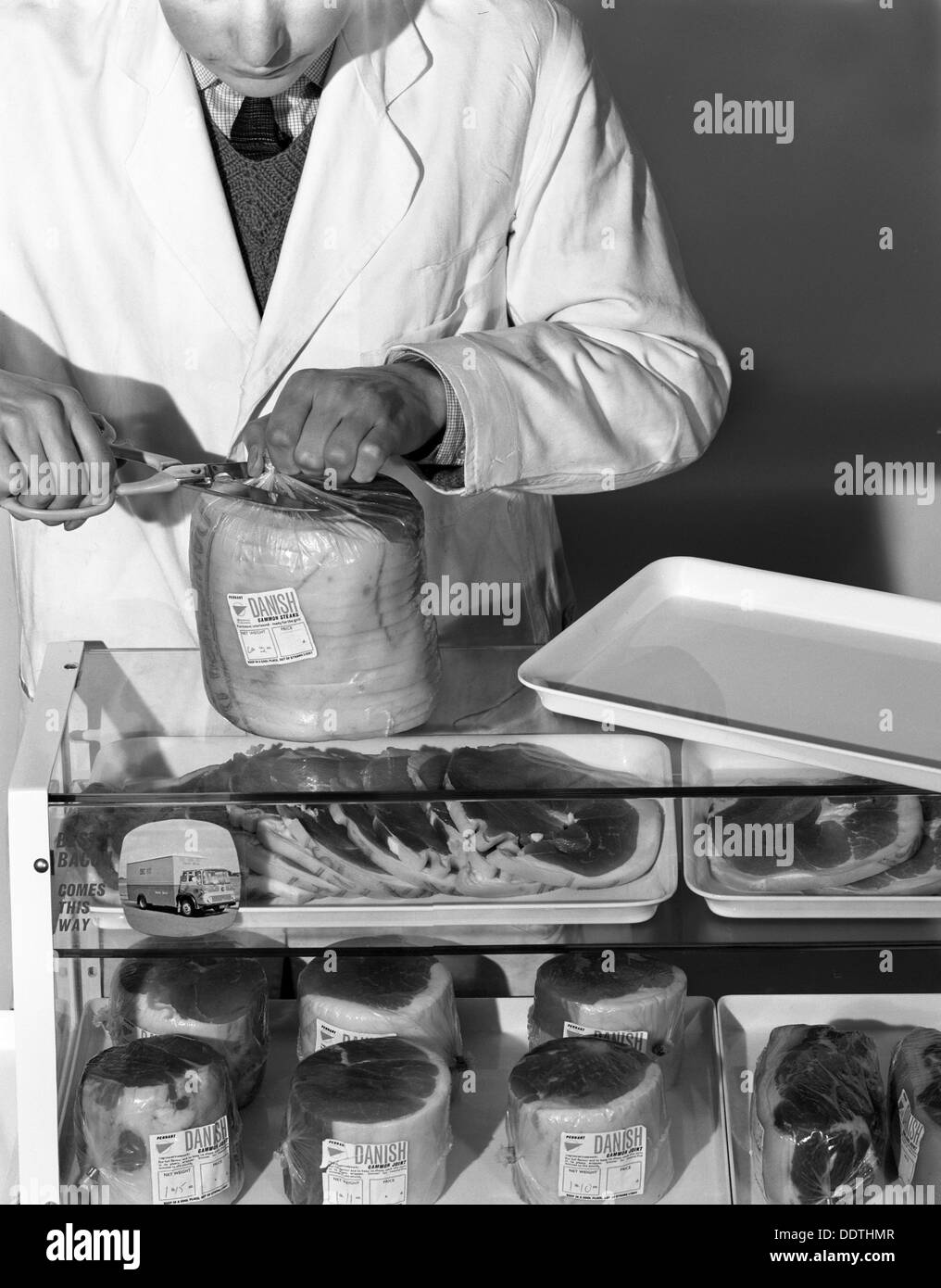 Pre-packed gammon steaks, Danish Bacon Company, Yorkshire, 1964. Artist: Michael Walters - Stock Image