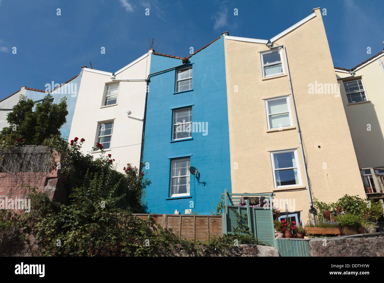 Backs Of Colourful Regency Houses In Hotwells Bristol With V Shaped Stock Photo Alamy