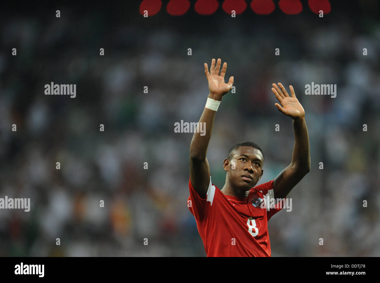 David Alaba of Austria waves after the