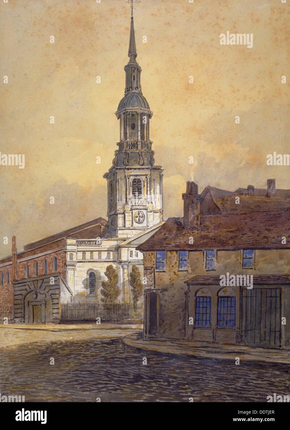 Shoreditch England: St Leonard's Church, Shoreditch, London, C1815. Artist