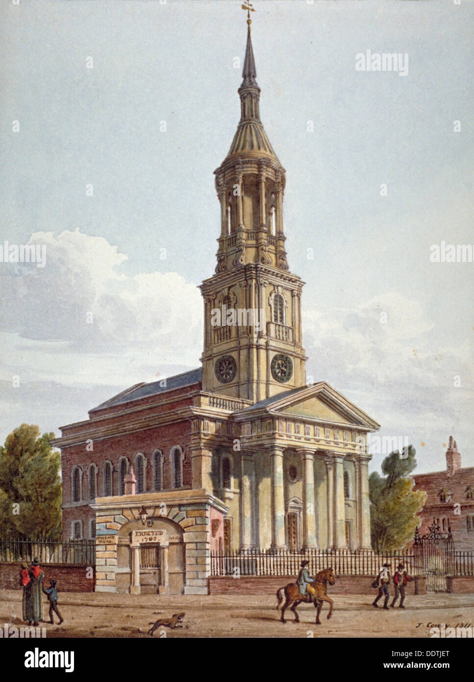 Shoreditch Church: St Leonard's Church, Shoreditch, London, 1811. Artist