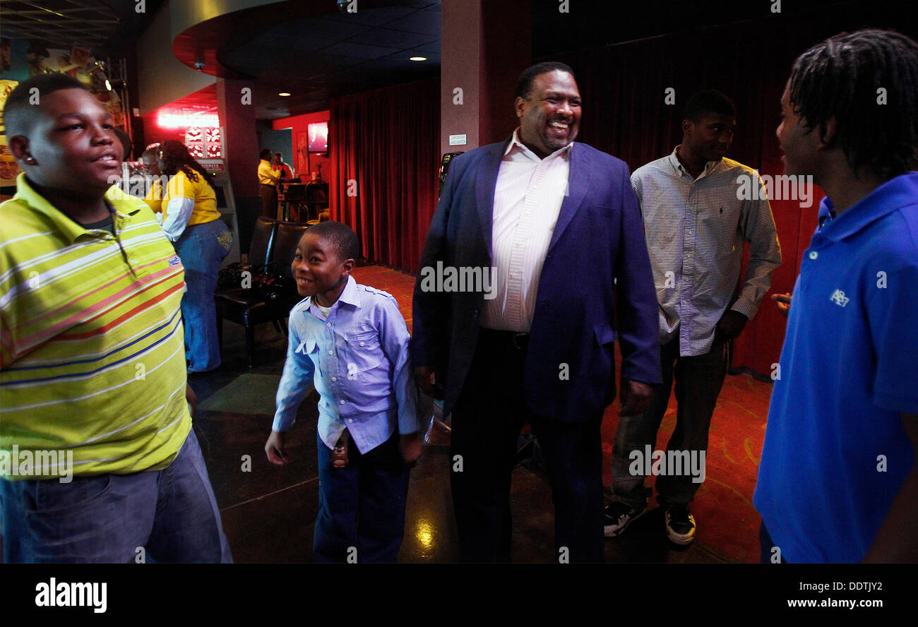 Sept. 5, 2013 - Memphis, Tenn, U.S. - September 5, 2013 - Rev. Ricky Floyd (middle) jokes with several of the young Stock Photo