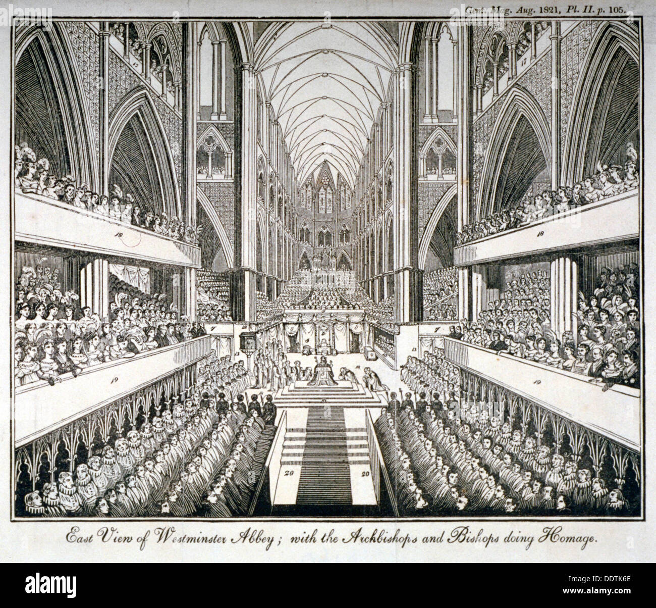 The coronation of George IV in Westminster Abbey, London, 1821. Artist: Anon - Stock Image
