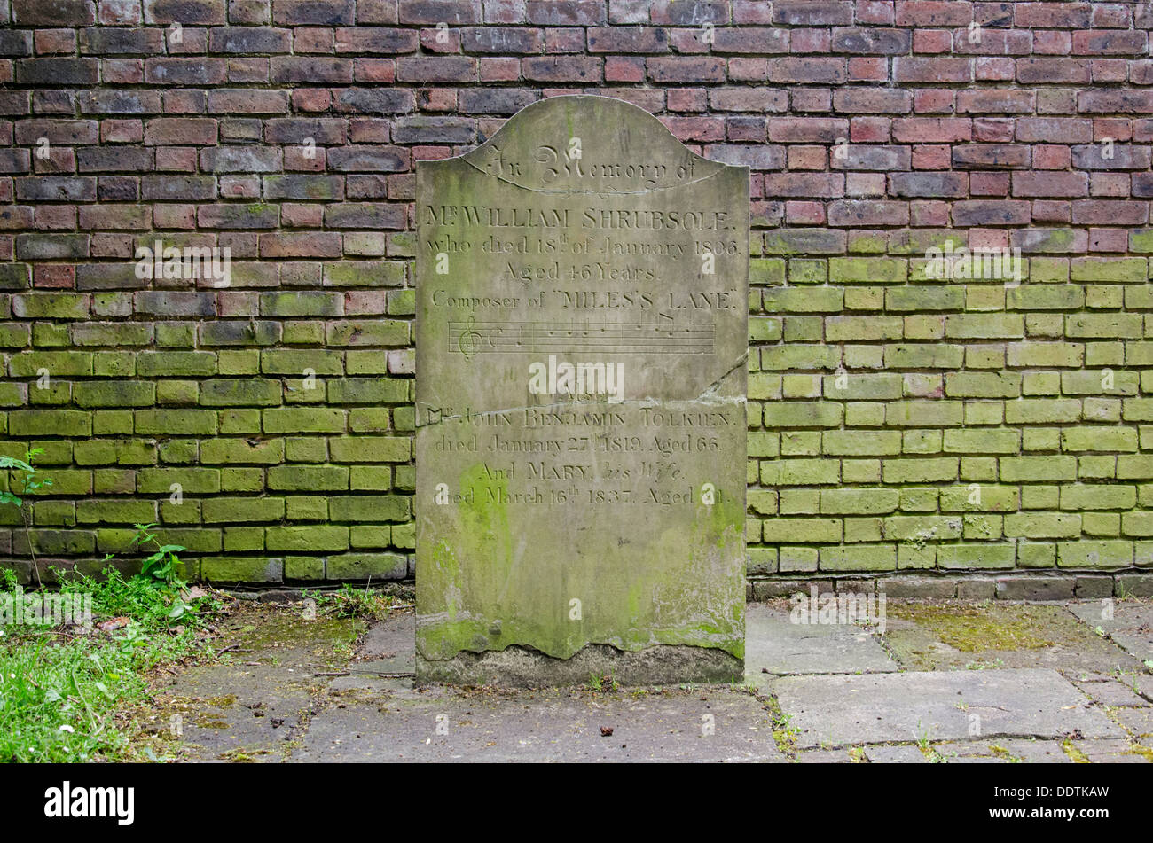 A headstone in Bunhill Fields Burial Ground remembering Mr William Shrubsole, Mr Benjamin Tolkien and his wife Mary. - Stock Image