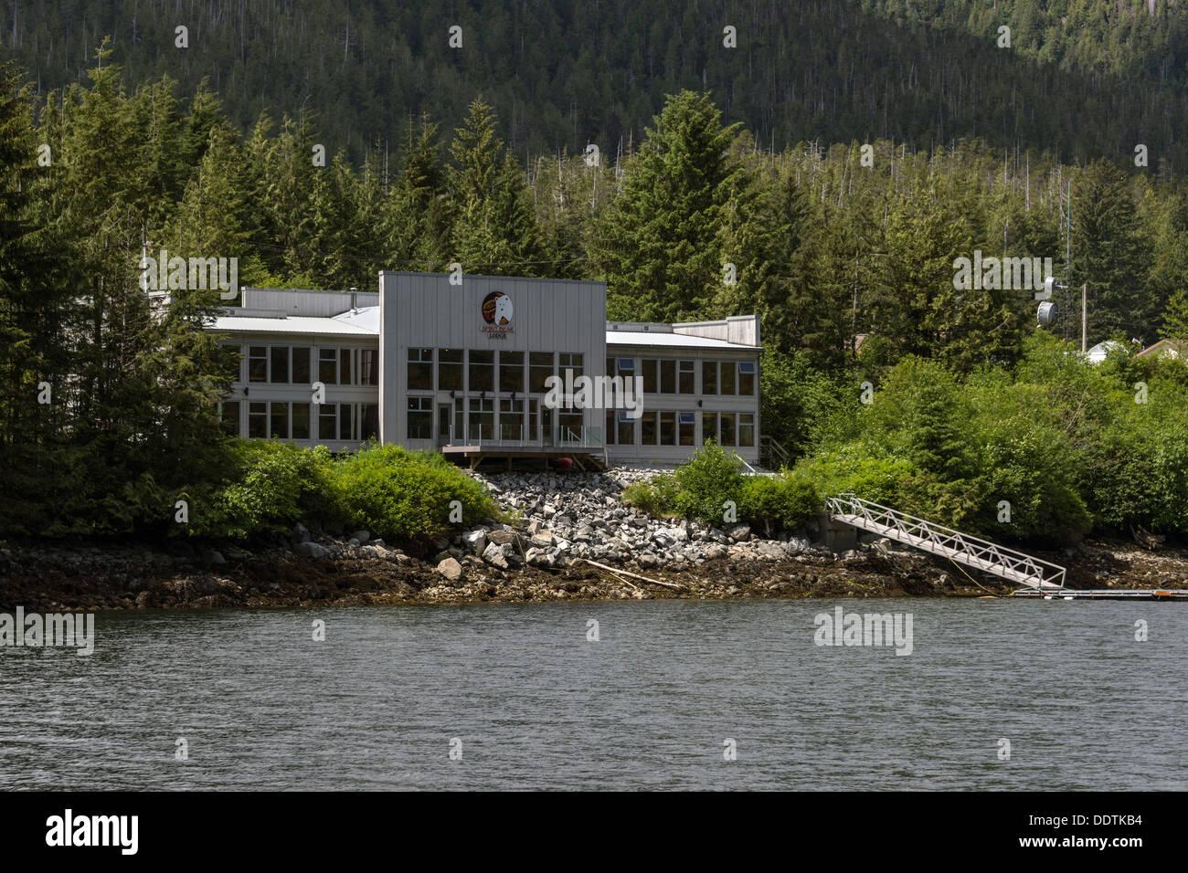 Spirit Bear Lodge, Klemtu, Swindle Island, British Columbia Stock Photo