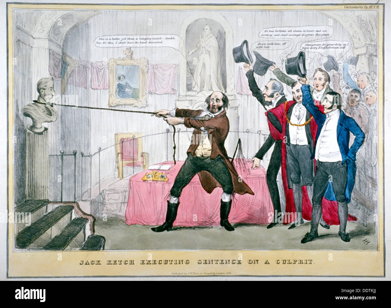 'Jack Ketch executing sentence on a culprit', 1832.                                 Artist: Anon - Stock Image