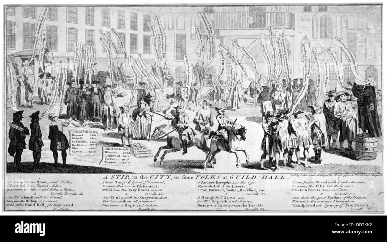 'A stir in the City, or some folks at Guild-hall', 1754. Artist: Anon - Stock Image