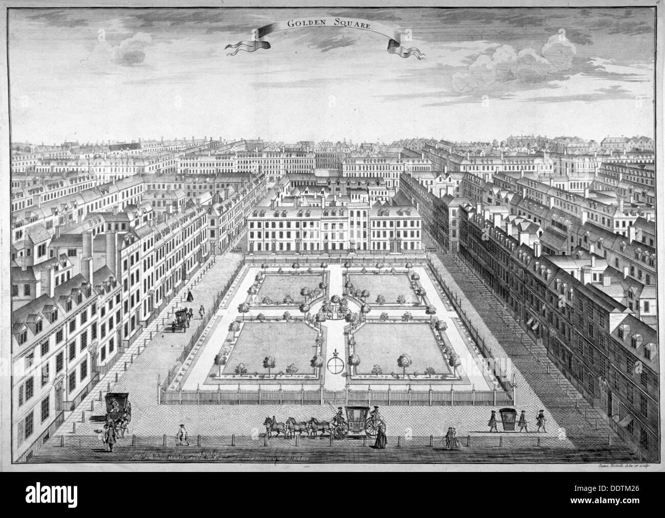 Golden Square, Westminster, London, 1754. Artist: Sutton Nicholls - Stock Image