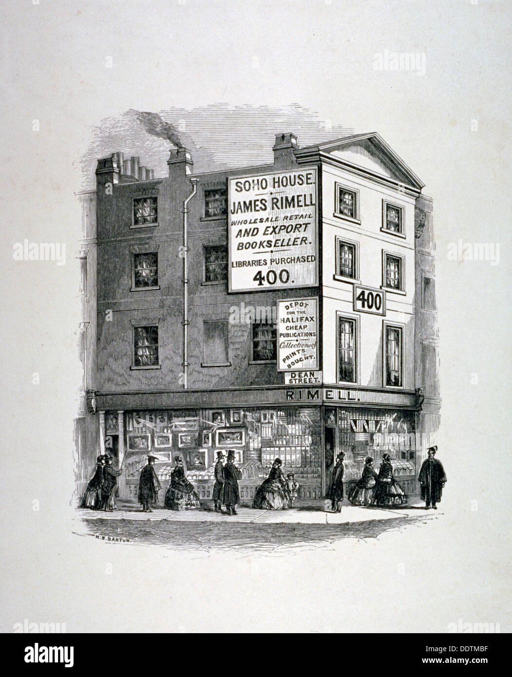 James Rimell's bookshop, Soho House, corner of Dean Street and Oxford Street, London, c1860. Artist: Anon - Stock Image