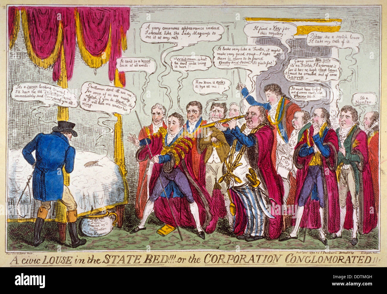 'A civic louse in the state bed!!!, or the Corporation conglomorated!!', 1824. Artist: Isaac Robert Cruikshank - Stock Image