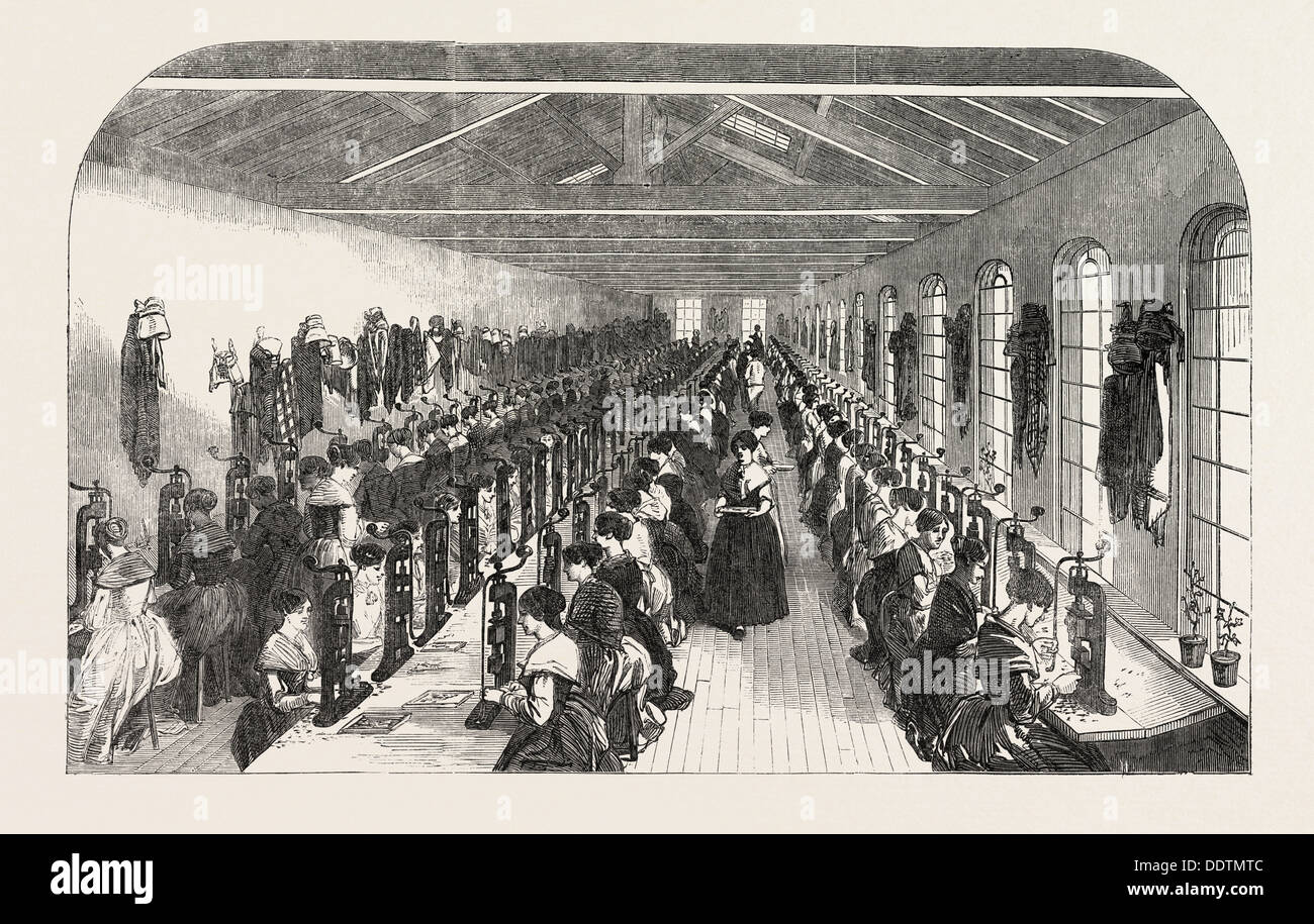 THE MANUFACTURE OF STEEL PENS IN BIRMINGHAM, UK: THE SLITTING ROOM FOR PENS, 1851 engraving - Stock Image