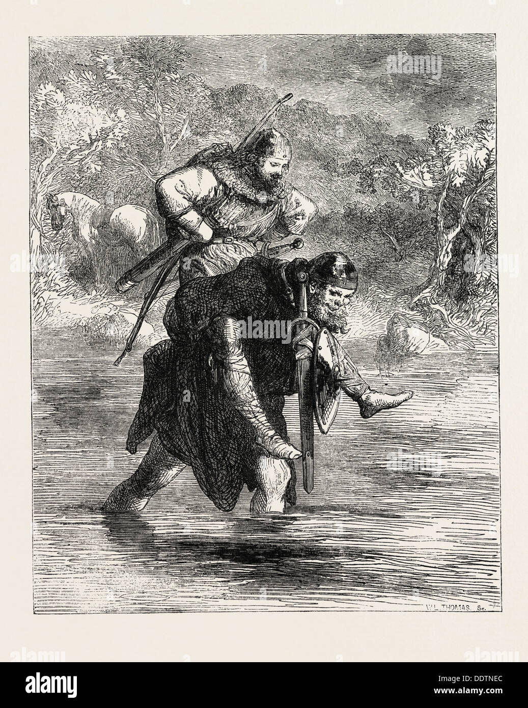 ROBIN HOOD AND THE CURTAL FRIAR, FROM THE BOY'S BOOK OF BALLADS, 1860 engraving - Stock Image