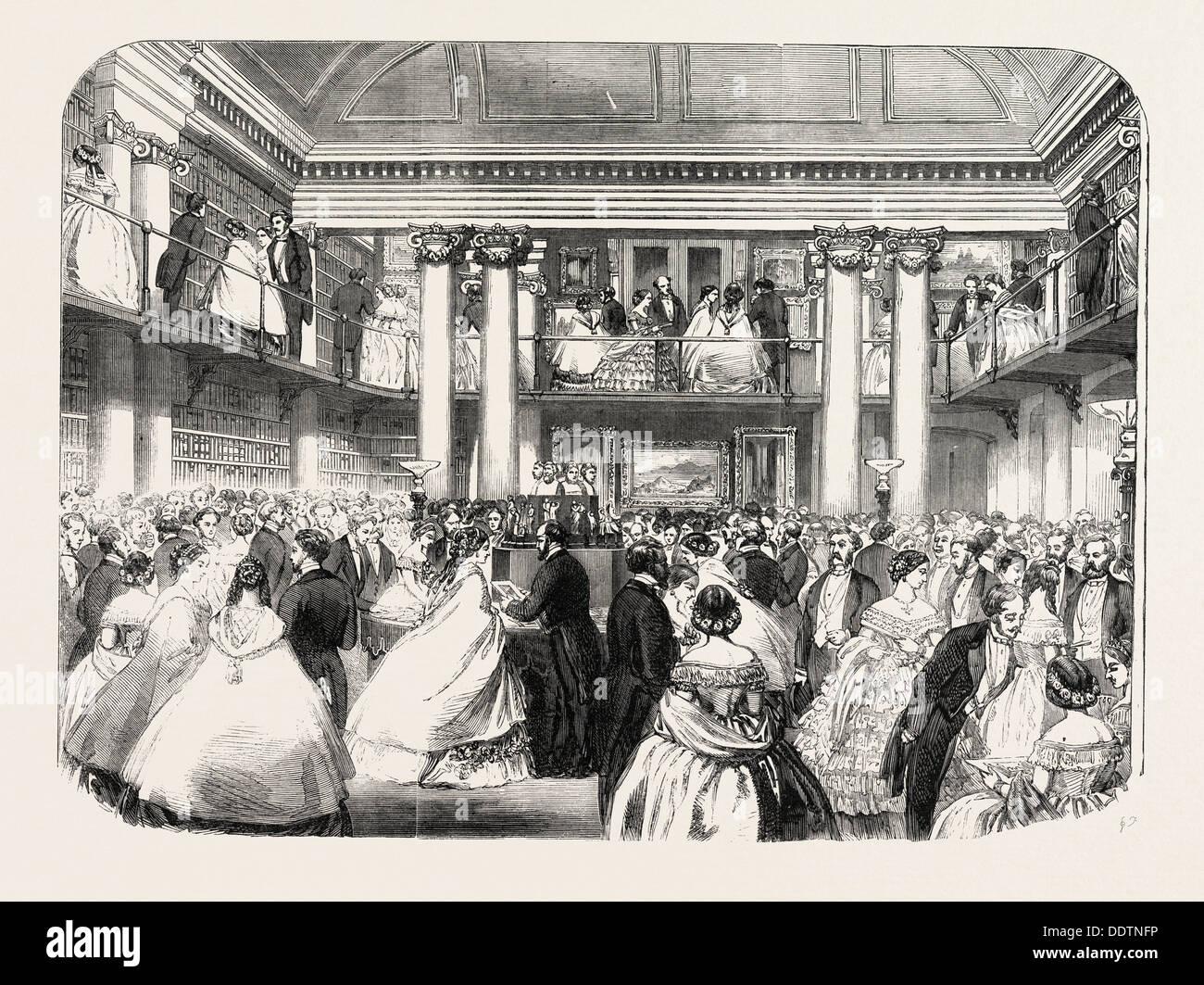 LITERARY REUNION IN MR. MUDIE'S NEW HALL, 1860 engraving - Stock Image