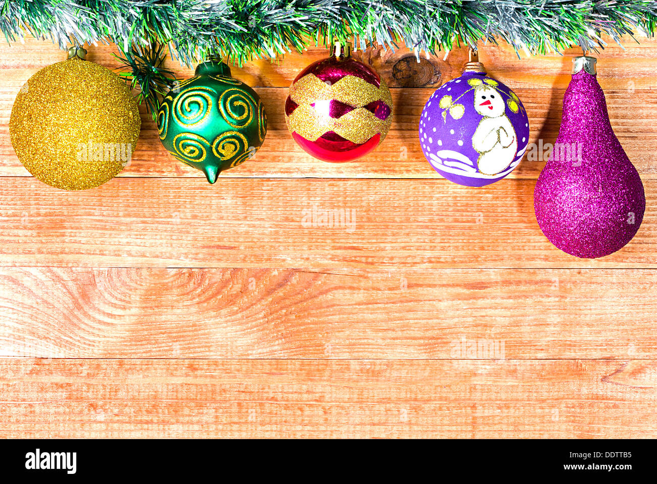 Christmas Border With Decoration New Year S Toys On A Wooden Stock