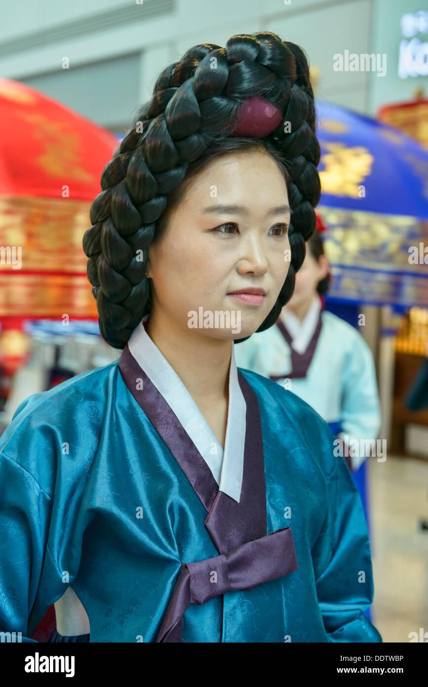 Woman In Traditional Korean Costume Seoul South Korea Stock Photo