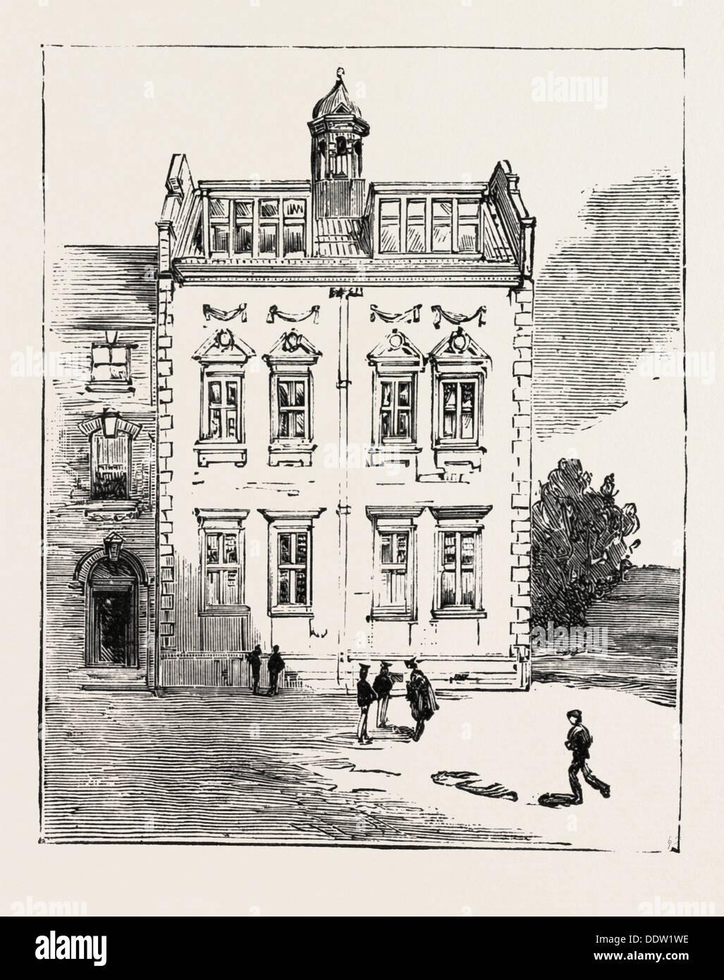 ADDITION TO THE GRAMMAR SCHOOL BEDFORD, ENGRAVING 1884, UK, britain, british, europe, united kingdom, great britain, european - Stock Image