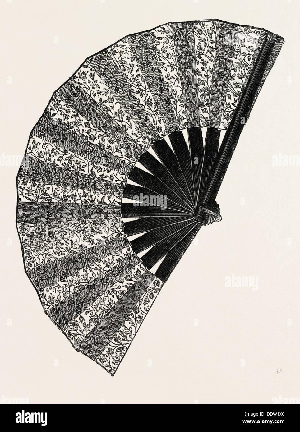 FAN , ENGRAVING 1882 - Stock Image