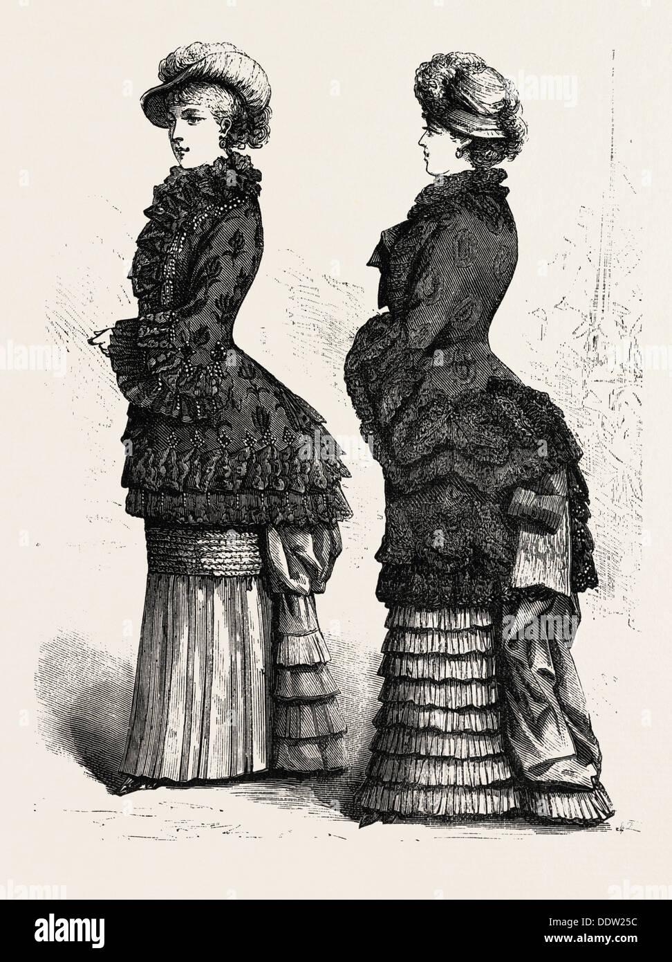 AUTUMN MANTLE, FASHION, ENGRAVING 1882 - Stock Image