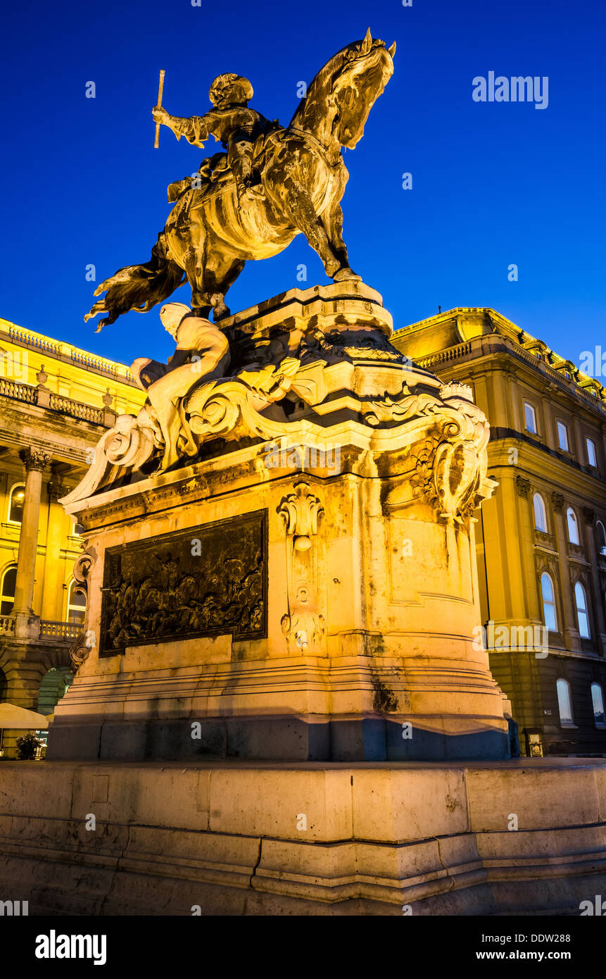 Equestrian statue of Eugene of Savoy at Buda Castle, Budapest. - Stock Image