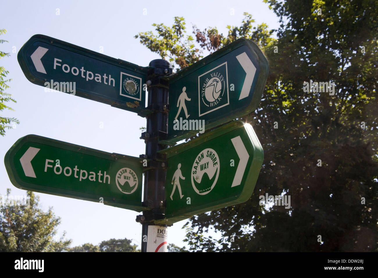 Sandwich Kent England UK Public Footpaths signs Saxon Shore Way and Stour Valley Walk - Stock Image