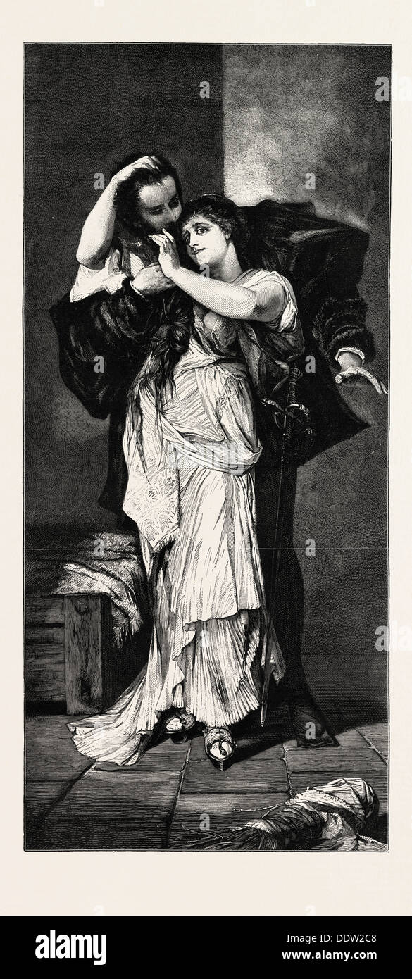 FAUST AND MARGUERITE, ENGRAVING 1882 - Stock Image