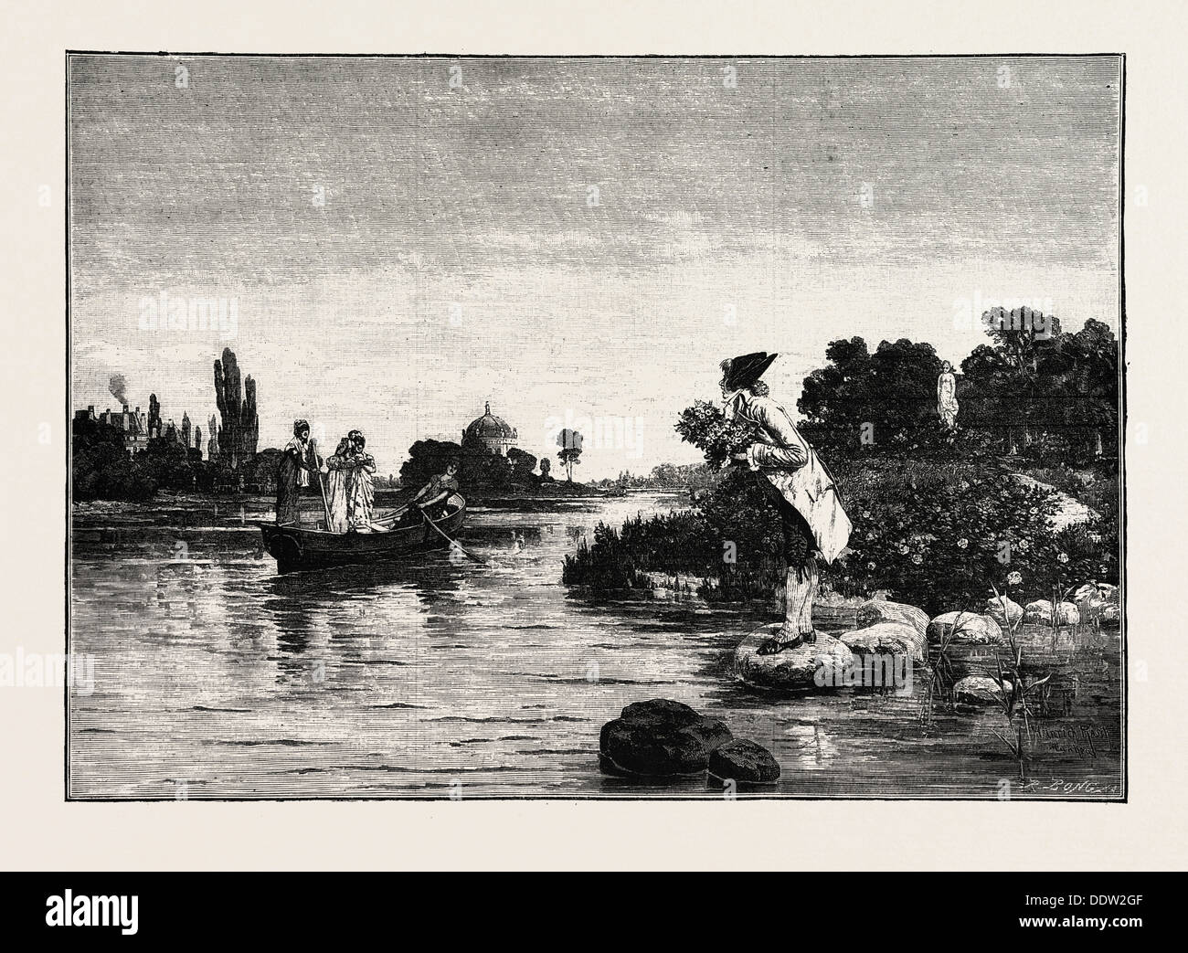 Abandoned, By Heinrich Rasch, ENGRAVING 1882 - Stock Image