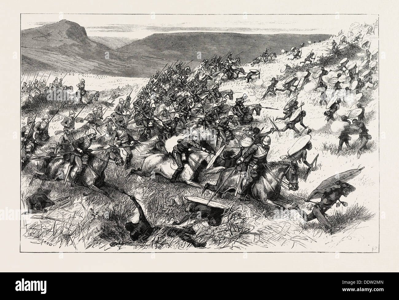 THE ZULU WAR - CHARGE OF THE SEVENTEENTH LANCERS AT THE BATTLE OF ULUNDI, ENGRAVING 1879 - Stock Image