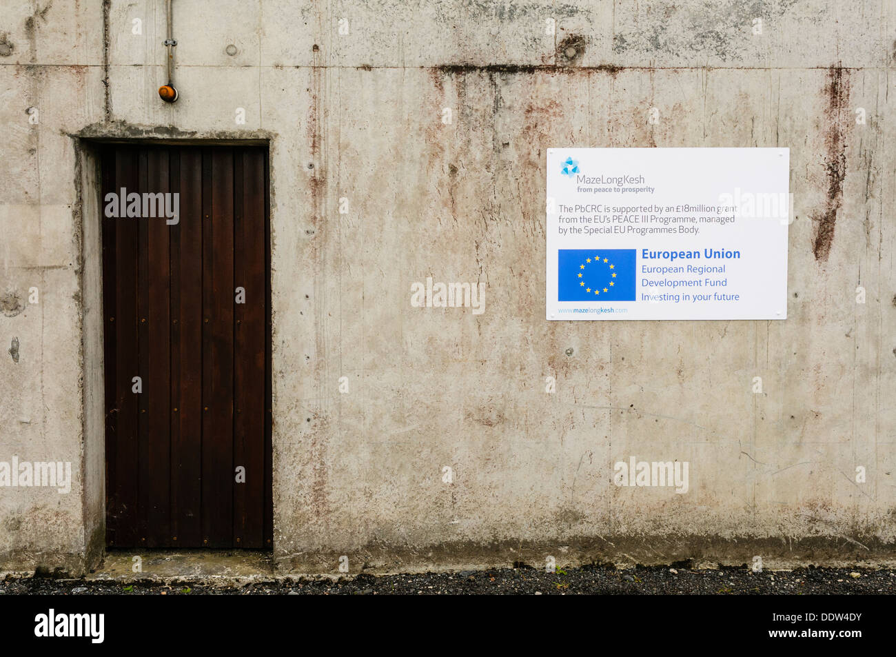 Sign at the Peace building and Conflict Resolution Centre (PbCRC) at the Maze, which has been cancelled by Peter - Stock Image