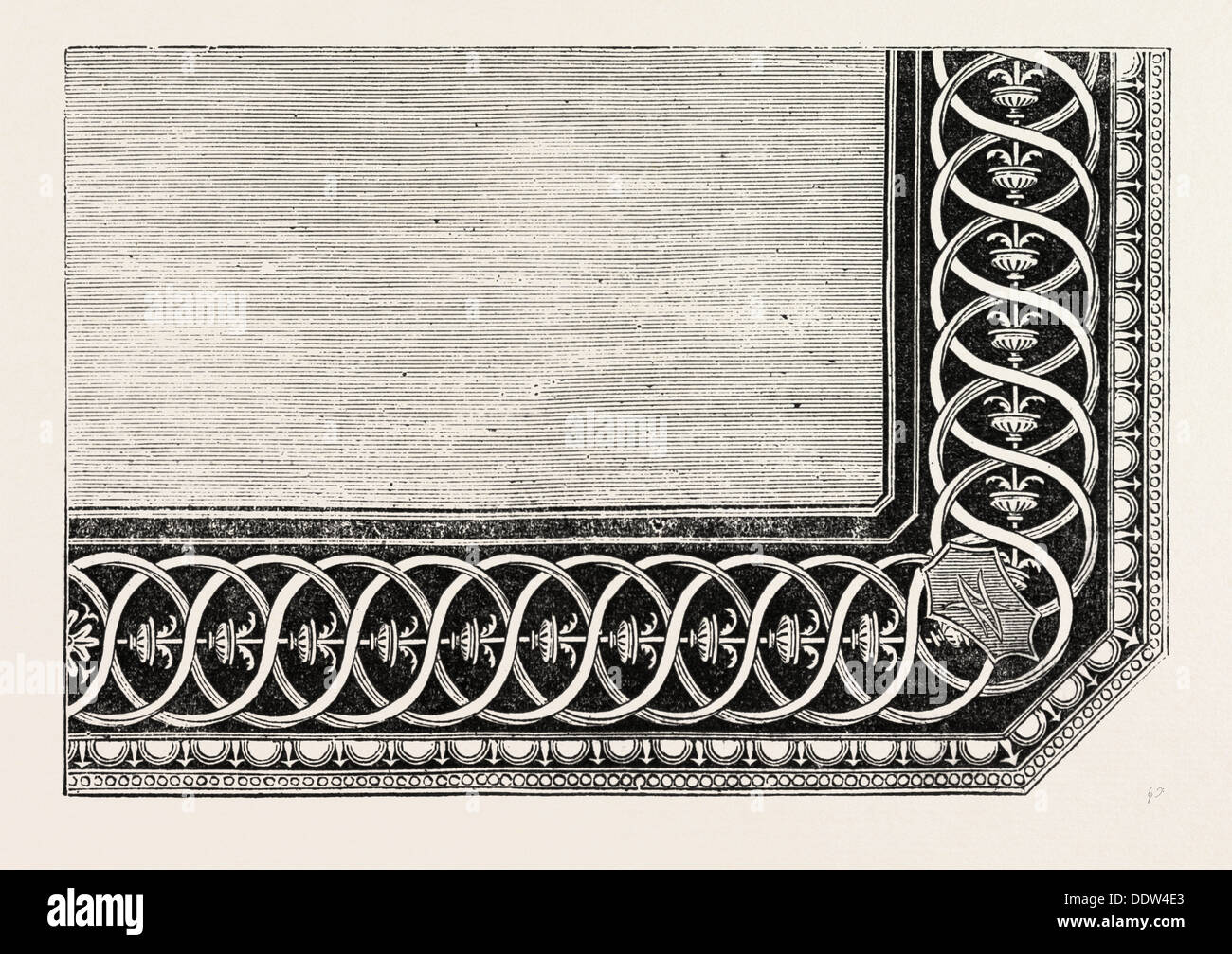 IN-LAID TABLE TOP, DESIGNED BY GRUNER, BY WOODRUFFE, OF BAKEWELL, DERBYSHIRE - Stock Image
