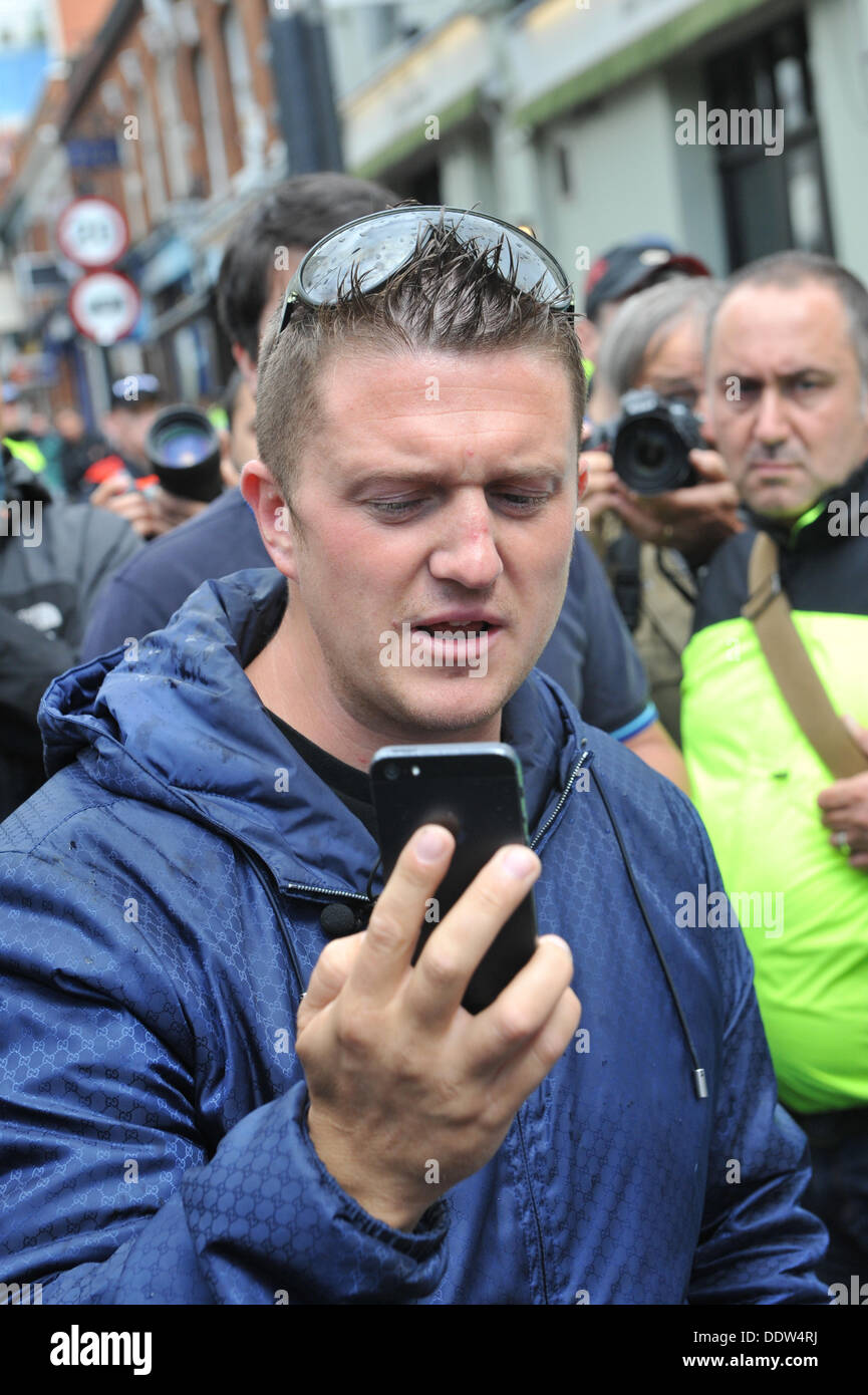 Tower Bridge, London, UK. 7th September2013.  Tommy Robinson of the  EDL as the group prepare to march from Tower Bridge towards Aldgate. Credit:  Matthew Chattle/Alamy Live News - Stock Image