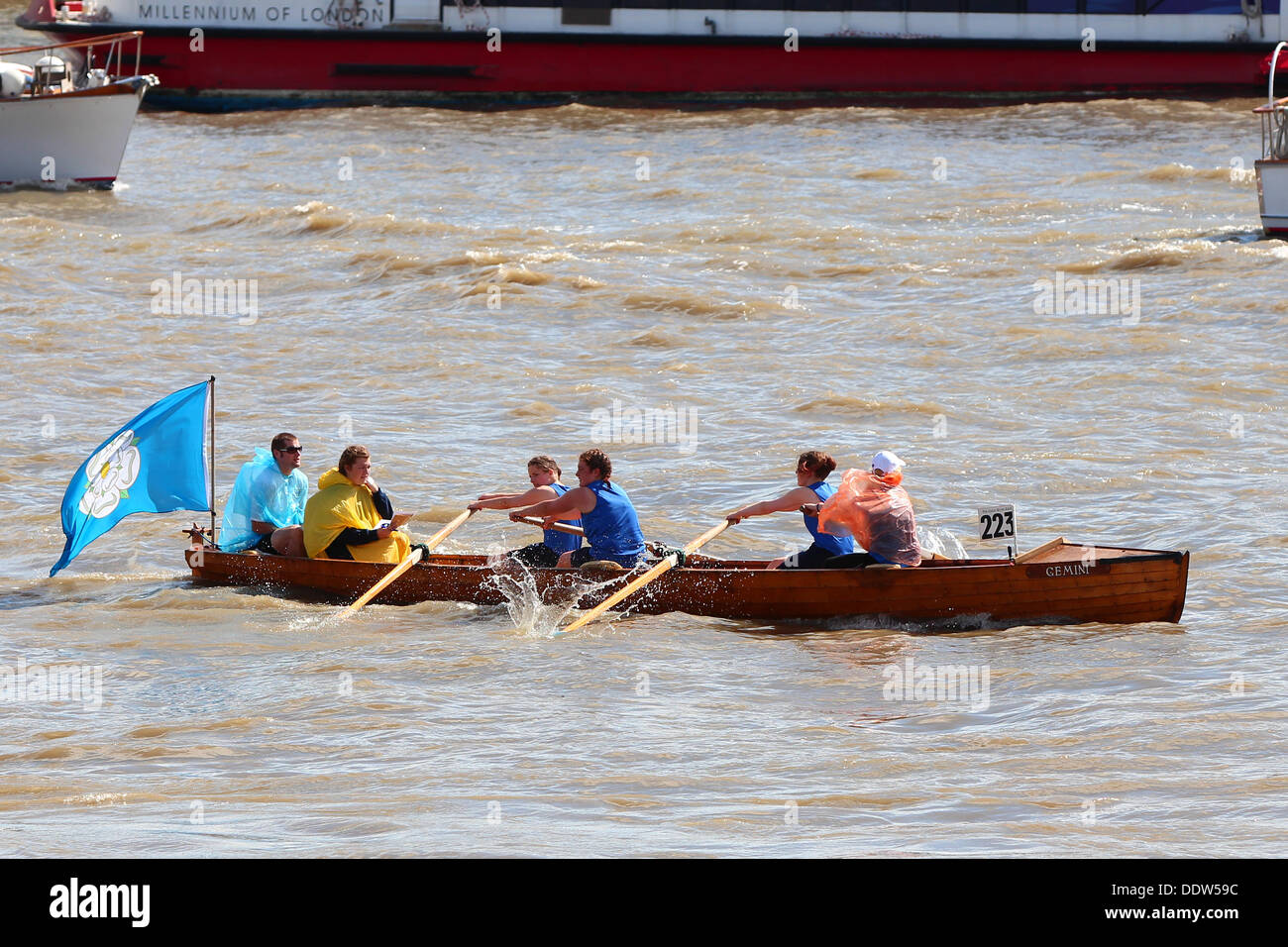 London, UK. 07th Sep, 2013. The Great River Race again is run upstream from the Millwall Slipway opposite the Docklands Sailing  Centre, Westferry Road E14 to Ham, Richmond. Credit:  Ashok Saxena/Alamy Live News - Stock Image