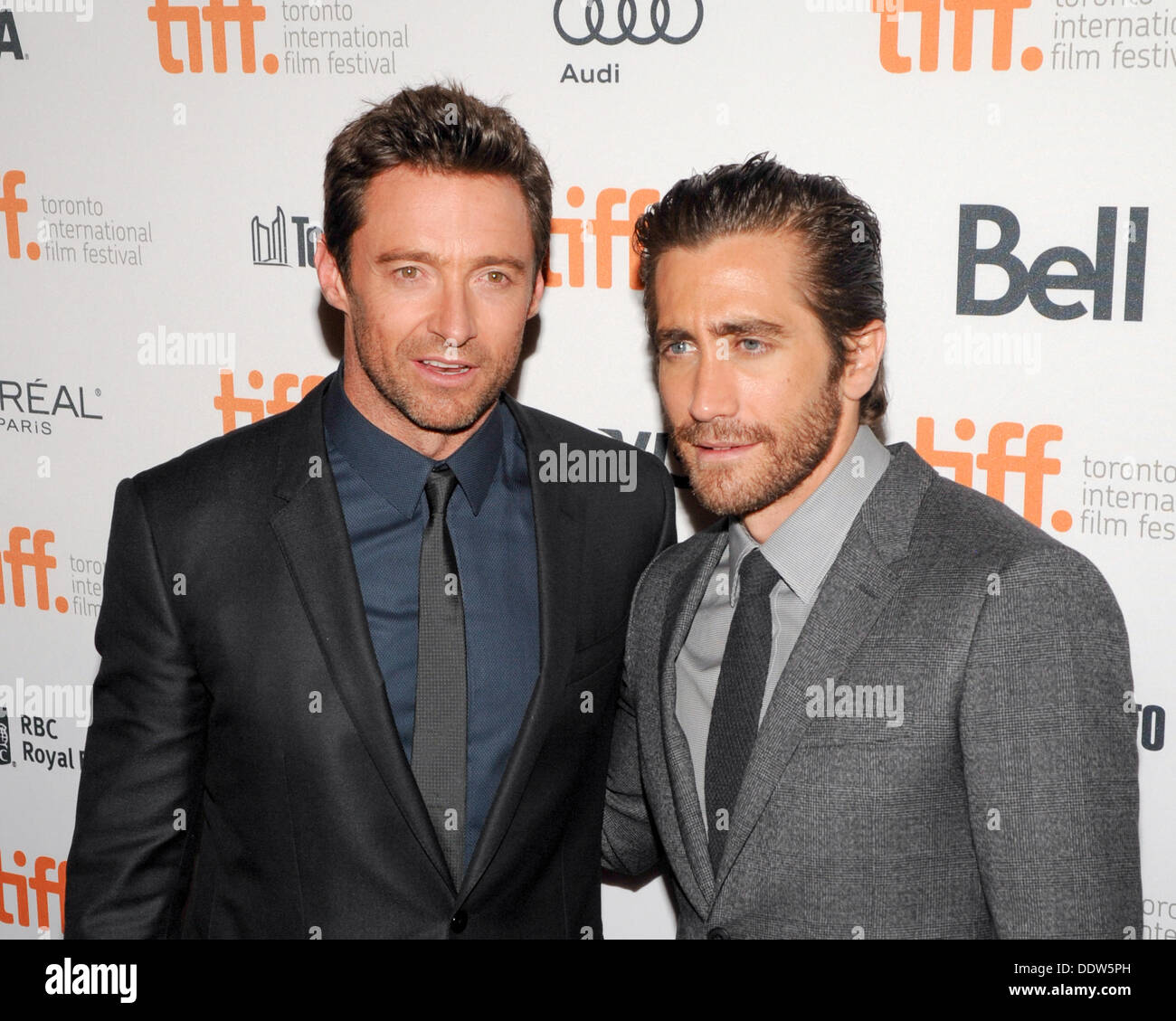 Toronto, Ontario, Canada. 6th Sep, 2013. Actors HUGH JACKMAN and JAKE GYLLENHAAL arrive at the 'Prisoners' Premiere during the 2013 Toronto International Film Festival held at The Elgin on September 6, 2013 in Toronto, Canada Credit:  Igor Vidyashev/ZUMAPRESS.com/Alamy Live News - Stock Image
