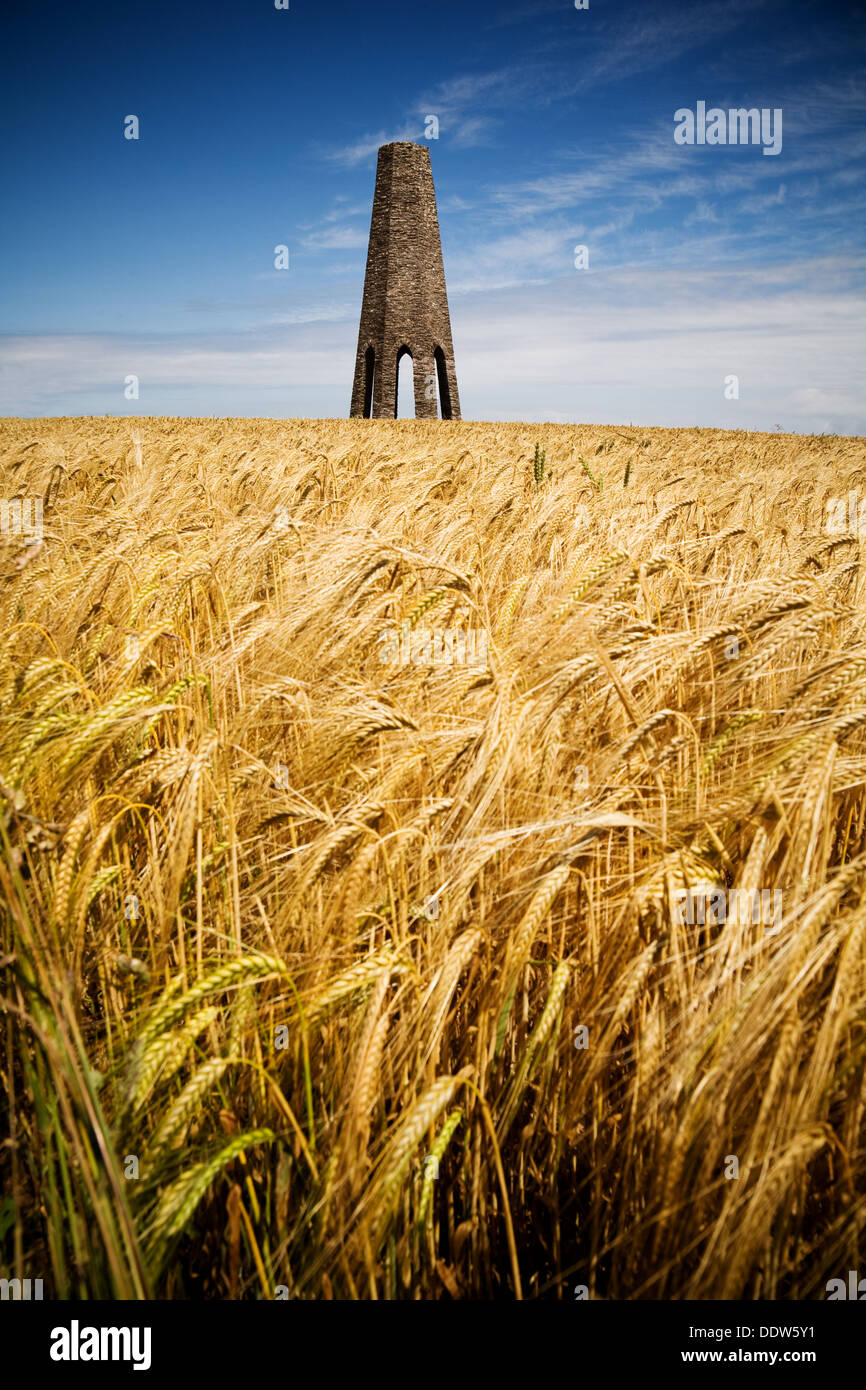 Day mark in a barley field near Kingswear in South Devon. Structure is used by boats to navigate into Dartmouth - Stock Image