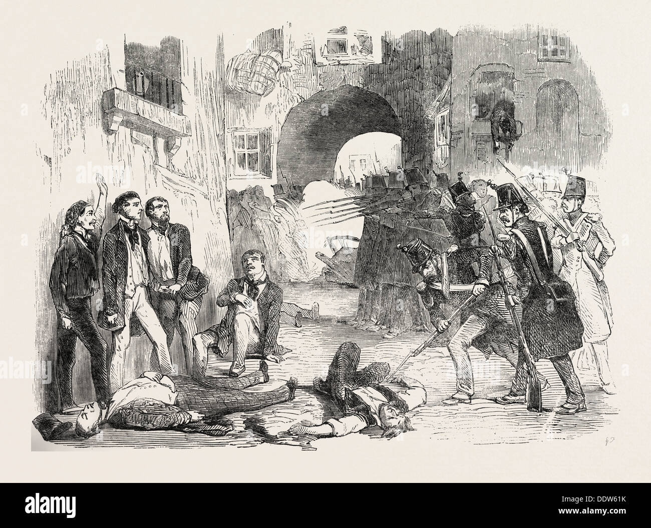 THE REVOLUTION IN FRANCE: THE TROOPS SHOOTING THE INSURGENTS IN THE STREETS OF PARIS, 1851 Stock Photo
