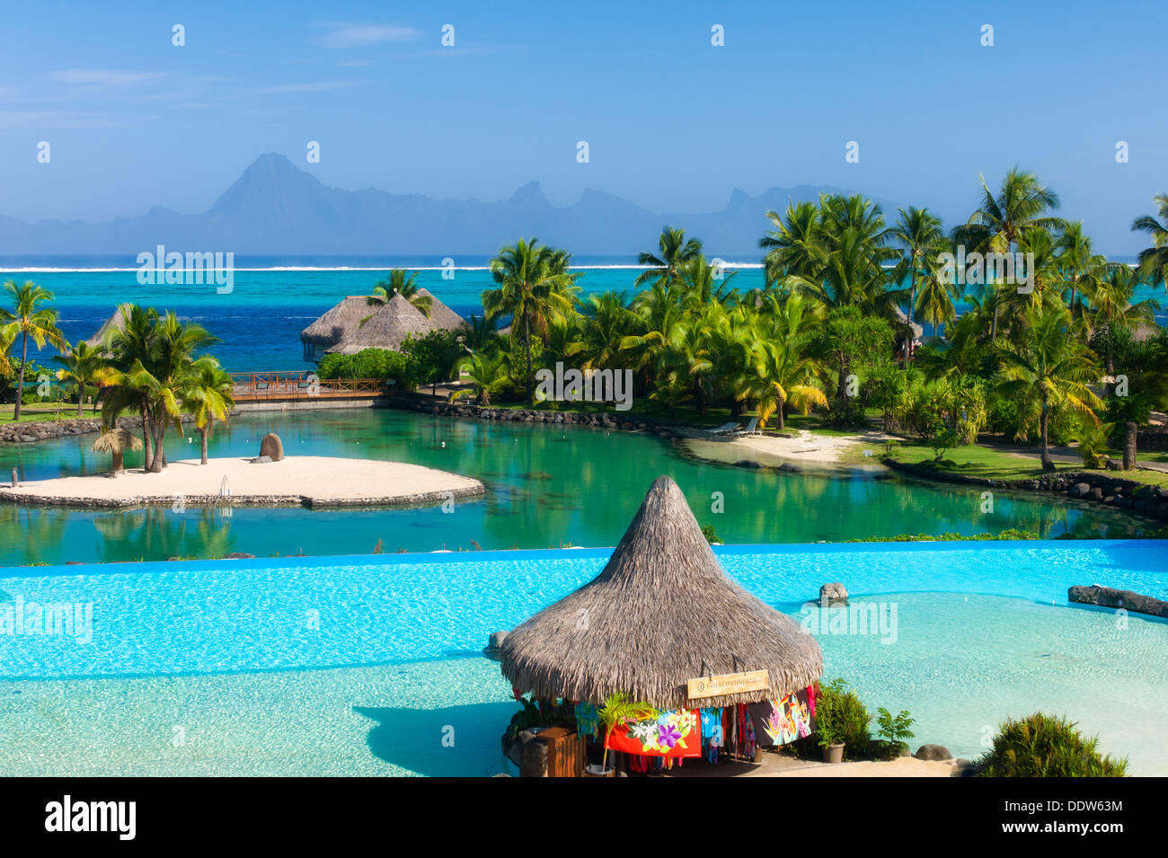 Pool at the Intercontinental Tahiti hotel with Moorea in background Tahiti. French Polynesia Stock Photo