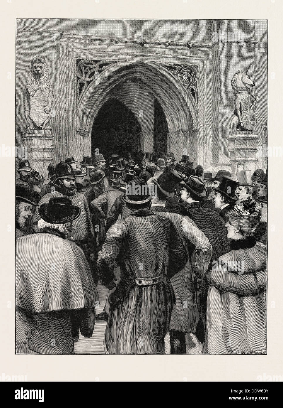 THE GREAT HOME RULE DEBATE: SCENE AT THE DOOR OF THE HOUSE OF COMMONS, UK, 1893, 1893 engraving - Stock Image