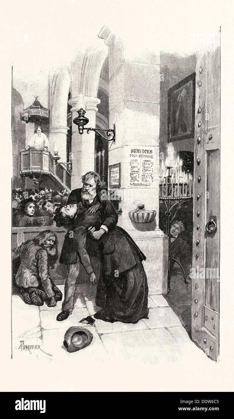 She moved to the door of the church, but, with her foot on the step, swayed and fell into Medallion's arms, 1893 engraving - Stock Image