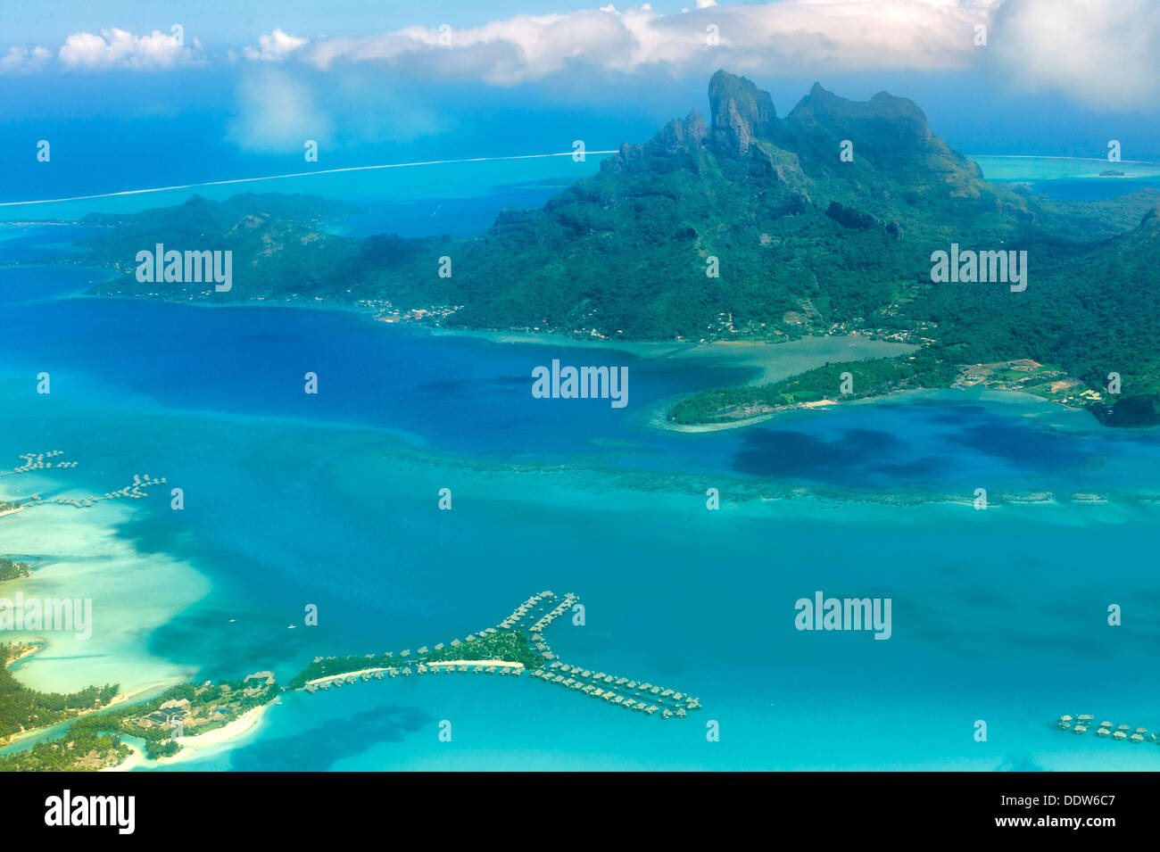 View of Bora Bora from the air with bungalows over water and Mt Otemanu. French Polynesia - Stock Image