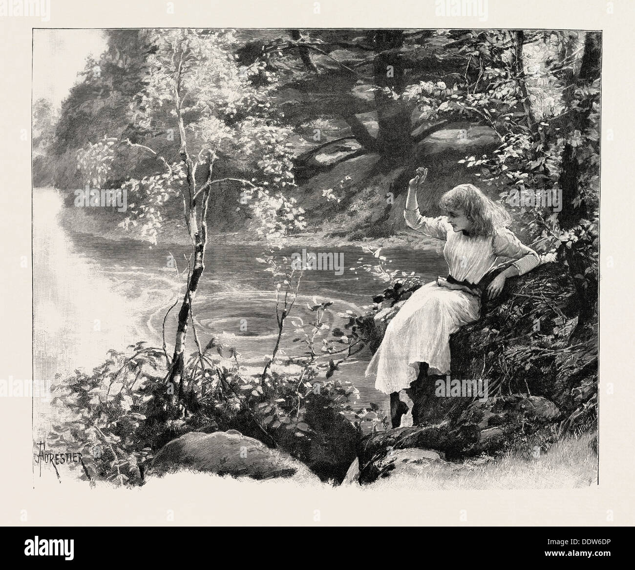 THE NYMPH OF THE EDDY, 1893 engraving - Stock Image