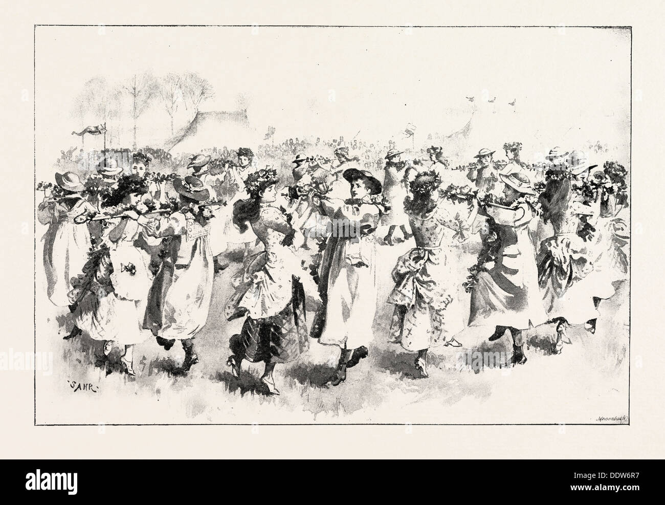 MAY-DAY FESTIVITIES: A PASTORAL DANCE AT ST. MARY CRAY, UK, 1892 engraving - Stock Image