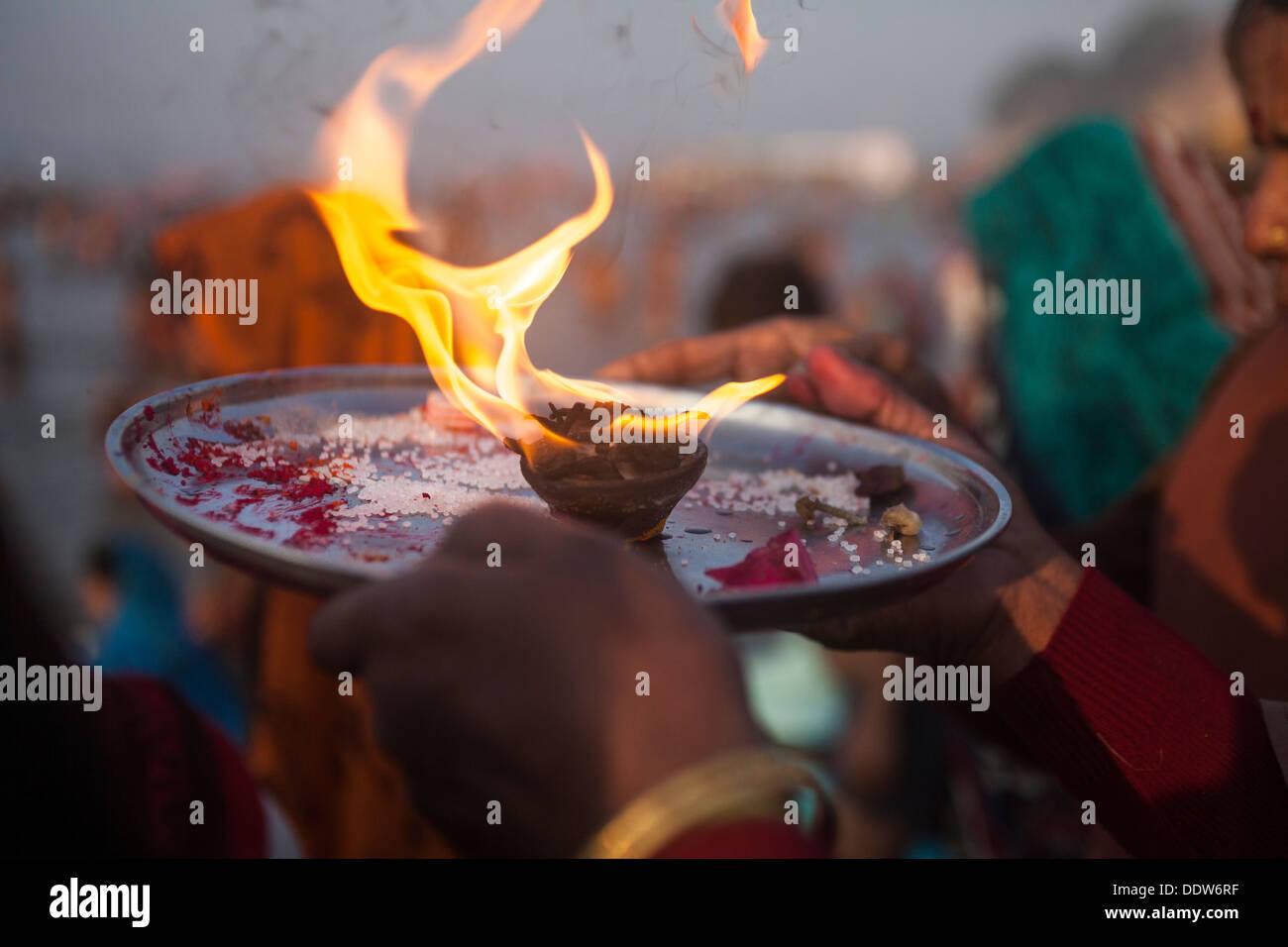 Devotes and Pilgrims taking holy dip in Ganga during the auspicious day at Kumbh Mela 2013, Allahabad, UP India Stock Photo