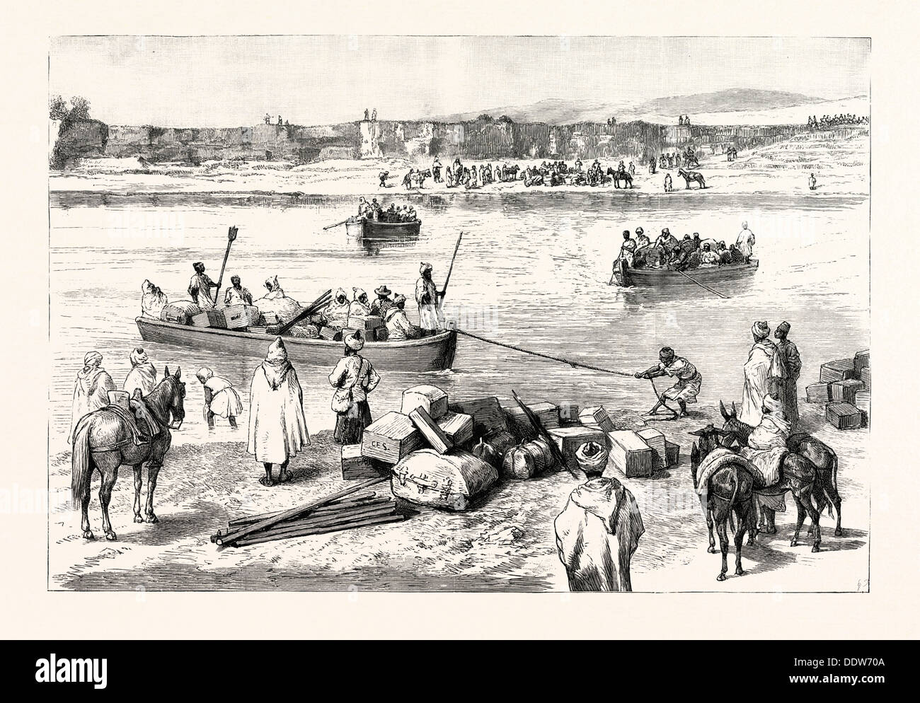 SIR CHARLES EUAN SMITH'S MISSION TO THE COURT OF MOROCCO: THE PASSAGE OF THE RIVER SEBU, 1892 engraving - Stock Image