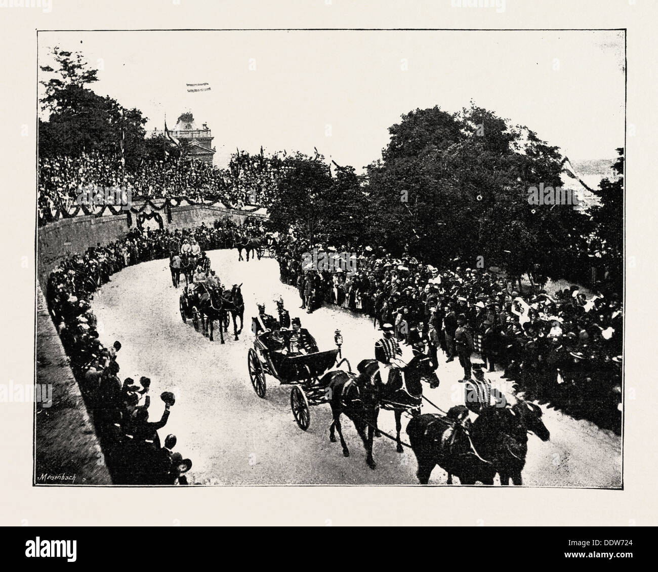 THE FESTIVITIES IN HUNGARY: HIS MAJESTY AND COUNT SZAPARY THE PRIME MINISTER, IN THE STATE COACH, ON THEIR WAY TO THE PALACE - Stock Image