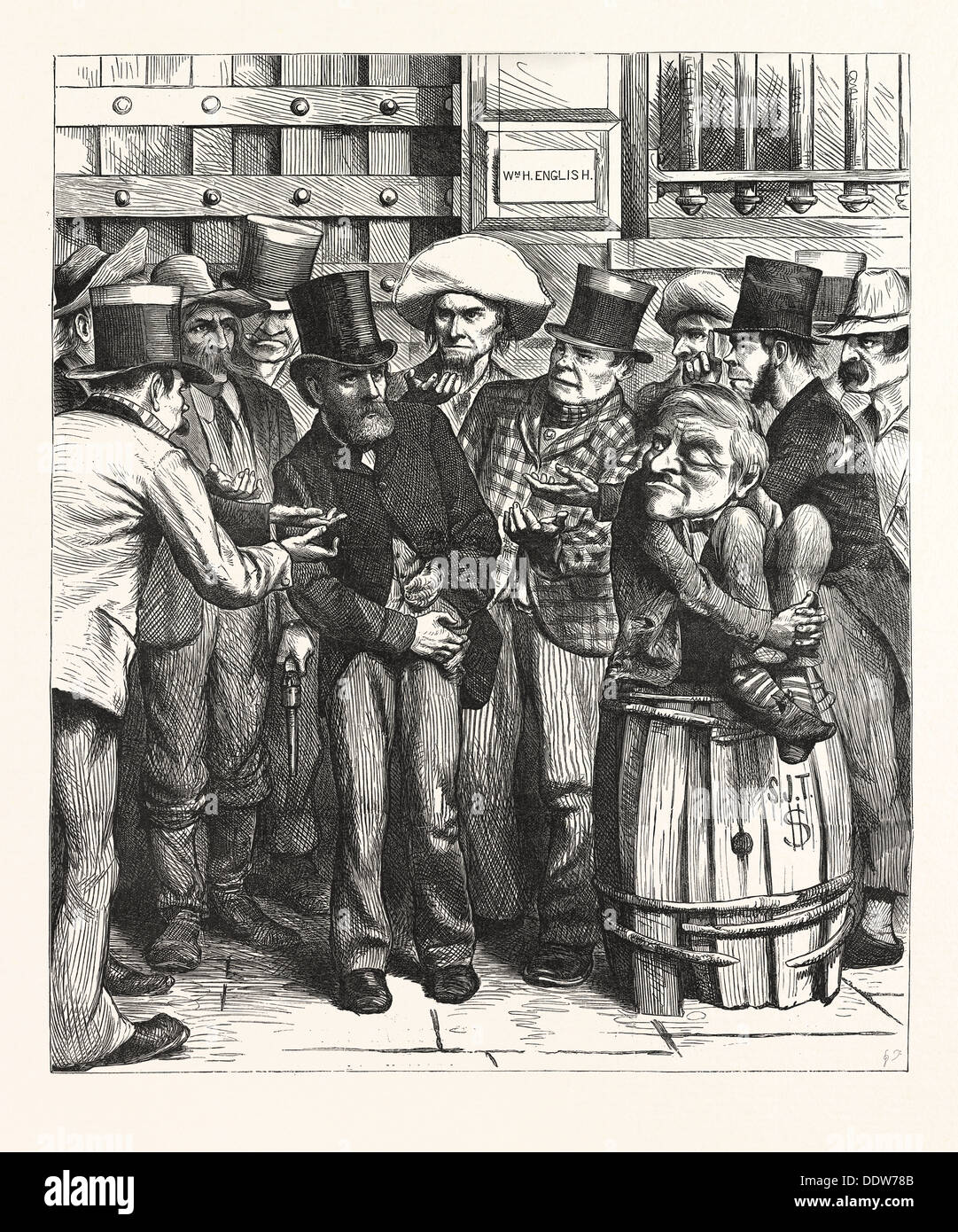 CHORUS HUNGRY DEMOCRATS. 'Come, Bill, fork the needful. you think we'll work you for? us, usa, engraving 1880 - Stock Image