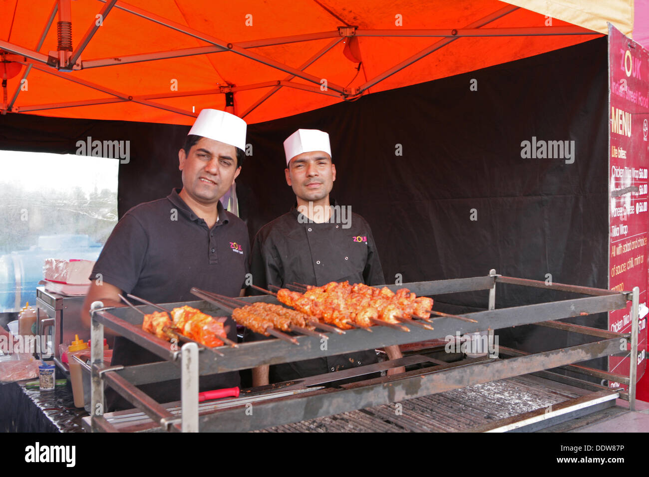 Stratford, UK. 7th September 2013. Kebab food stall at the National Paralympic Day Credit: Keith larby/Alamy Live News - Stock Image