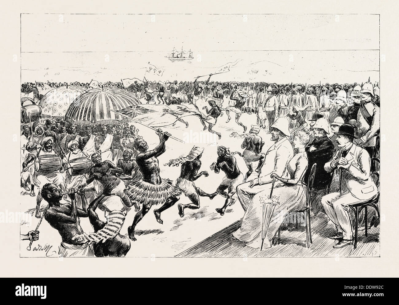 THE RECEPTION OF SIR BALDWIN GRIFFITH, K.C.M.G., THE NEW GOVERNOR OF THE GOLD COAST, AT CAPE COAST CASTLE, GHANA, 1890 engraving - Stock Image