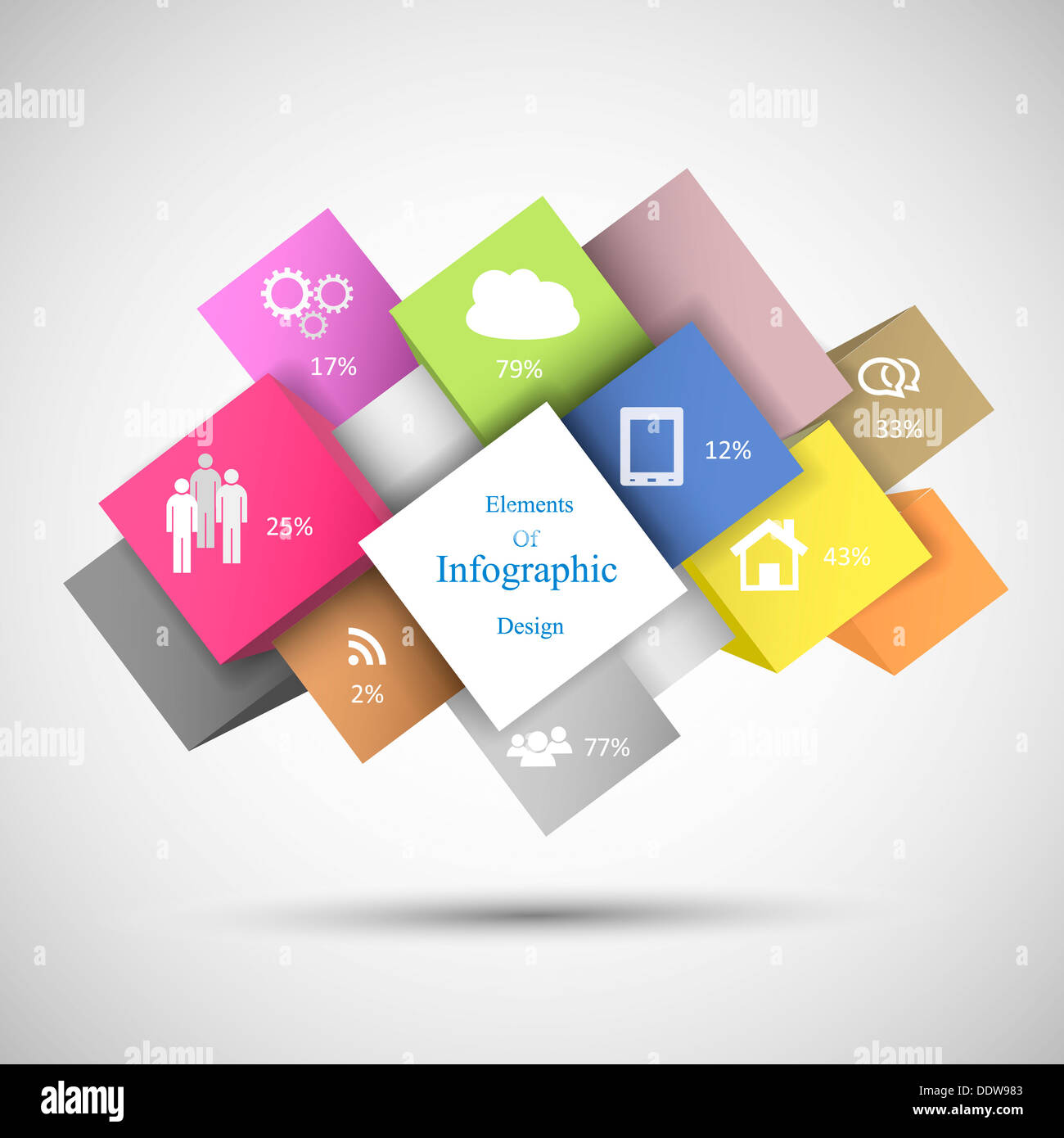 Colorful Infographic Cubes - Stock Image