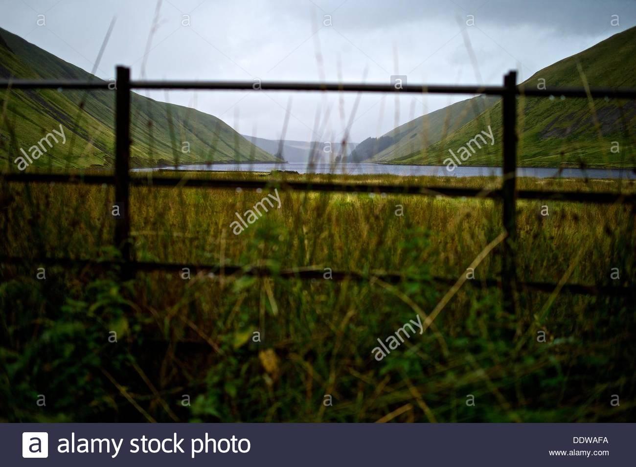 Talla Reservoir, Tweedsmuir, Scottish Borders, UK. 7th September 2013. Heavy rainfall sustained throughout Saturday Stock Photo
