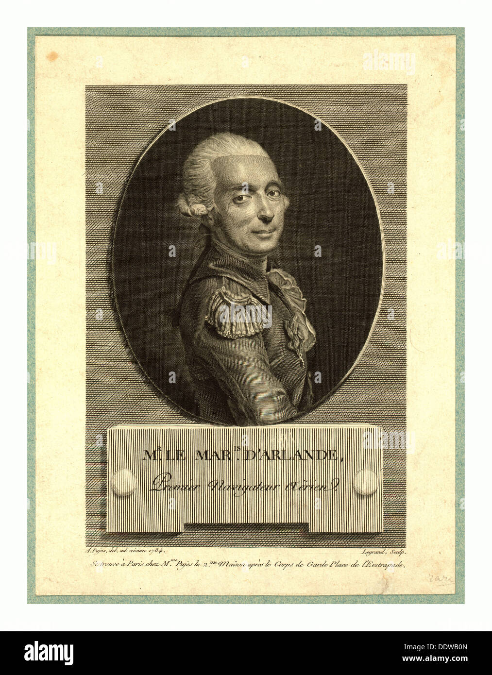 Mr. le maris. d'Arlande, first aerial navigator,  Pujos, André, 1738-1788, artist, Half-length portrait of French balloonist - Stock Image