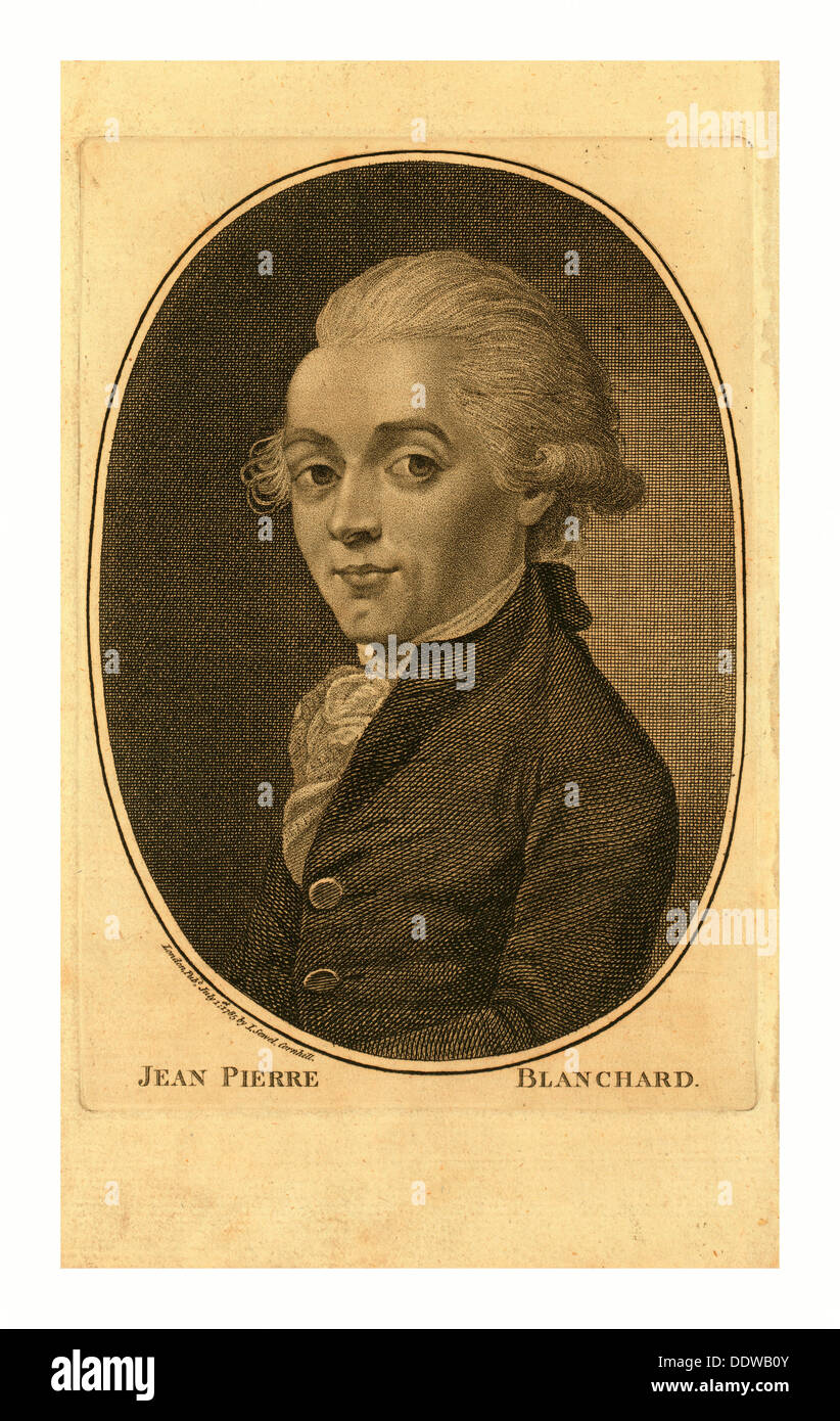 Jean Pierre Blanchard, London Published by I. Sewel, Cornhill, July 1st, 1785 , Half-length portrait of French balloonist - Stock Image